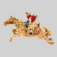 Vintage Polychrome Enamel and Gold Handmade Horse Pendant
