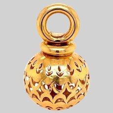 Vintage 18KT Gold Pierced Ball Pendant / Charm