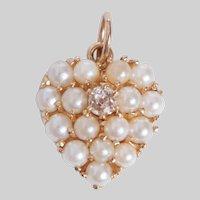 Vintage Pearl and Diamond Heart Pendant