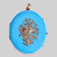 Large Oval Robin's Egg Blue Enamel and 14KT Gold Locket