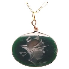 Antique Green Chalcedony Fob Pendant