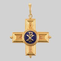 18 KT Gold and Lapis Cross Pendant with Crystal Locket Back