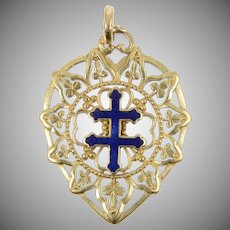 18 KT. Yellow Gold and Enamel Patriarchal Cross Pendant