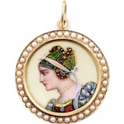 14 KT. Yellow Gold Porcelain and Seed Pearl Pendant