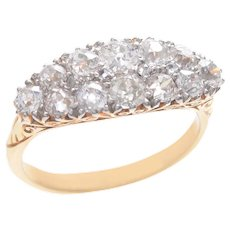 Antique Double Row Old European Diamond Ring set in 18 KT. Gold