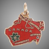 14 KT Canada Map / Red Enamel Charm / Pendant