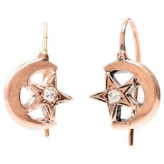 Star and Crescent 14 KT Rose Gold Earrings