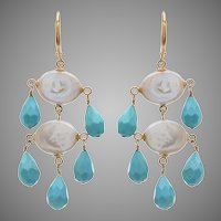 Coin Pearls and Tear Drop Turquoise Chandelier Earrings