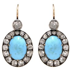 Victorian 18 KT Gold Turquoise and Diamond Cluster Earrings