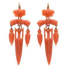 Antique Coral Amphora Drop Earrings