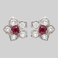 Ruby and Diamond Flowerhead Earrings