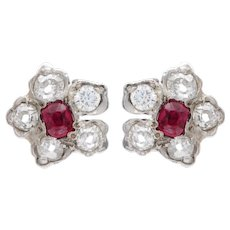 Ruby and Diamond Flowerhead Earrings