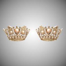 Delicate Crown Split Pearl and Gold Earrings