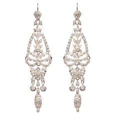 Georgian Paste Chandelier Earrings set in Silver