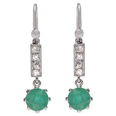 Edwardian Diamond and Emerald Earrings