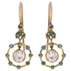 Edwardian Diamond and Cabochon Turquoise Dangle Earrings
