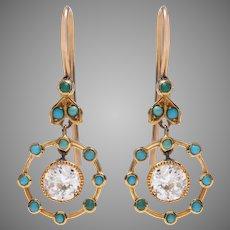 Edwardian Diamond and Cabochon Turquoise Dangle Earrings