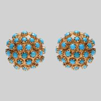 18 KT Cabochon Studded Turquoise Button Clip Earrings