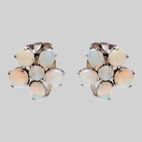 Vintage Floral Cluster Opal Earrings set in Sterling Silver