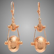 Victorian 9 KT Rose Gold Pendulum Drop Earrings