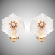 Frosted Rock Crystal and Diamond Flowerhead Ear Clips