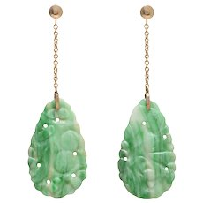 Vintage Jadeite / Jade Drop Earrings