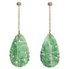 Vintage Jadeite / Jade Drop Earrings