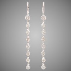 Diamond Cascade Drop Earrings set in 18 KT White Gold with 14 KT White Gold Lever wire Backs