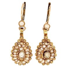 Antique Seed Pearl and 14 KT Gold Earrings