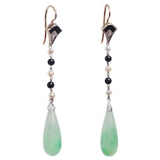 Art Deco Jadeite Jade Teardrop Earrings