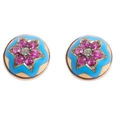 Antique Enamel Ruby and Diamond Star Earrings