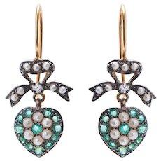 Victorian Emerald Pearl and Diamond Heart Earrings