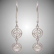 Platinum and Old European Diamond Earrings