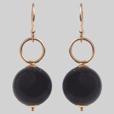 Vintage Onyx Ball Drop Earrings