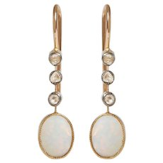 Antique Opal and Rose Cut Diamond Earrings