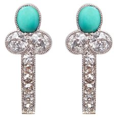 Antique Turquoise and Diamond Earrings