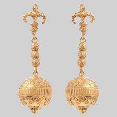 14KT Gold Etruscan Revival Style Earrings