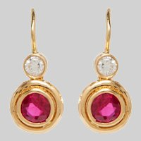 Vintage 18KT Ruby and Diamond Drop Earrings