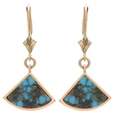 Natural Turquoise and 14 KT Gold Fan Drop Earrings