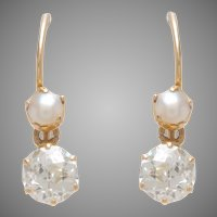 Antique Pearl & Diamond Dangle Earrings set on 18 KT. Yellow Gold