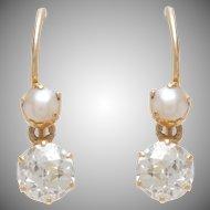 Antique Pearl & Diamond Dangle Earrings set on 18 KT. Yellow Gold