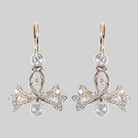 Bow and Bell Flower Diamond Earrings