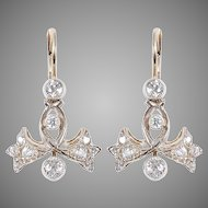 Bow and Bell Flower Diamond Earrings