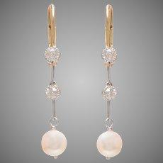 Edwardian Pearl and Old Euro Diamond Drop Earrings