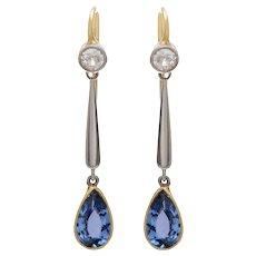 Sapphire & Old Mine Diamond Drop Earrings