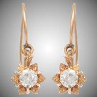 14 KT. Rosy Yellow Gold and Diamond Flowerhead Dangle Earrings