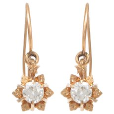 14 KT. Rosy Yellow Gold and Diamond Flowerhead Dangle Earrings