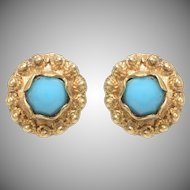 Antique Turquoise and 14 KT. Yellow Gold Earrings