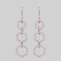 Vintage Diamond and 18 KT Snowflake Drop Earrings