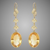 Oval Citrine Drop and Diamond Earrings